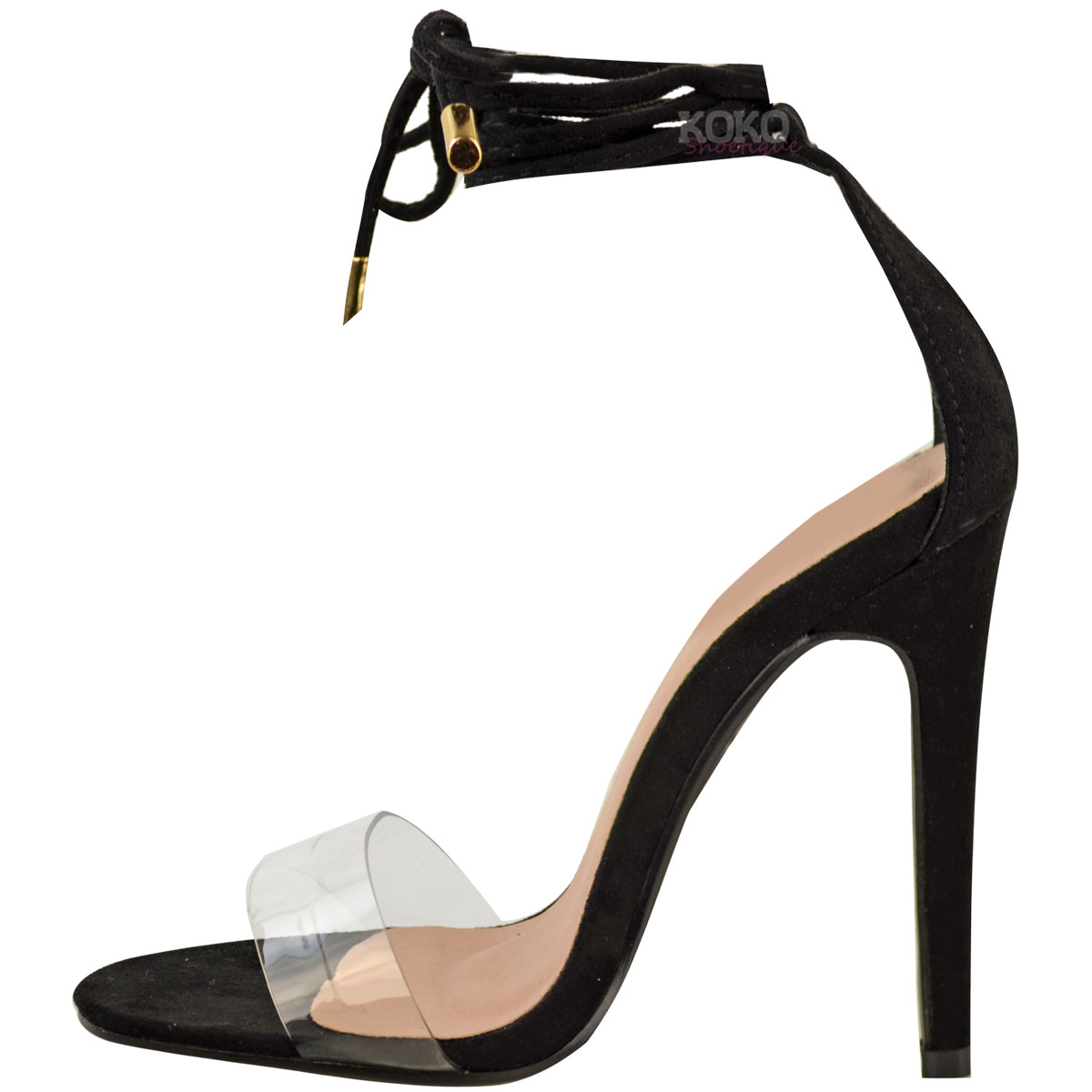 51c50908e33243 Details about Womens Ladies High Heel Barely There Clear Perspex Ankle  Strappy Sandals Size UK