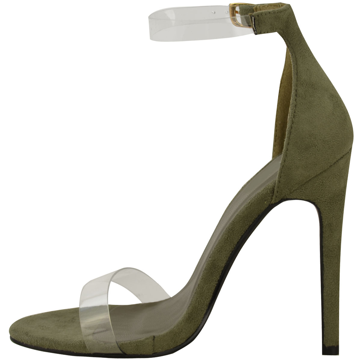 Womens Ladies High Heel Barely There Clear Perspex Sandals