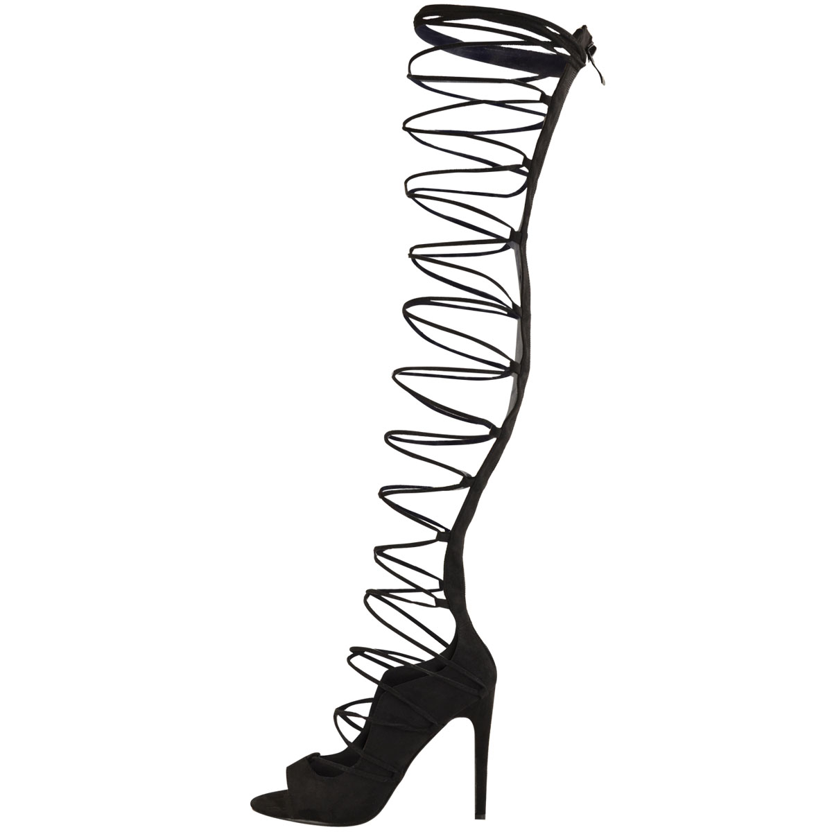 fcc0c7bd0f0 Womens Ladies Thigh High Lace Up Stiletto Heels Sandals Sexy Party ...