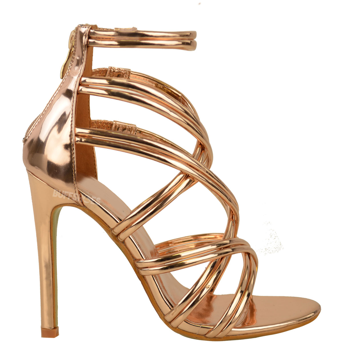 Womens Ladies Rose Gold Strappy Party Sandals High Heel Prom ... 95d4b81488
