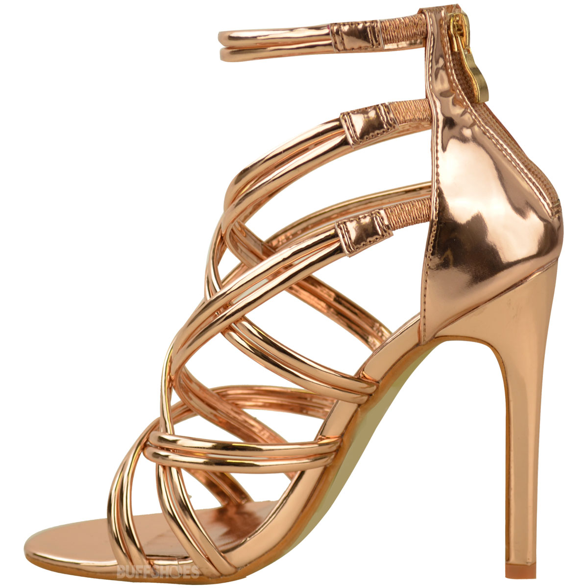 b5ca5e15249 Womens Ladies Rose Gold Strappy Party Sandals High Heel Prom ...