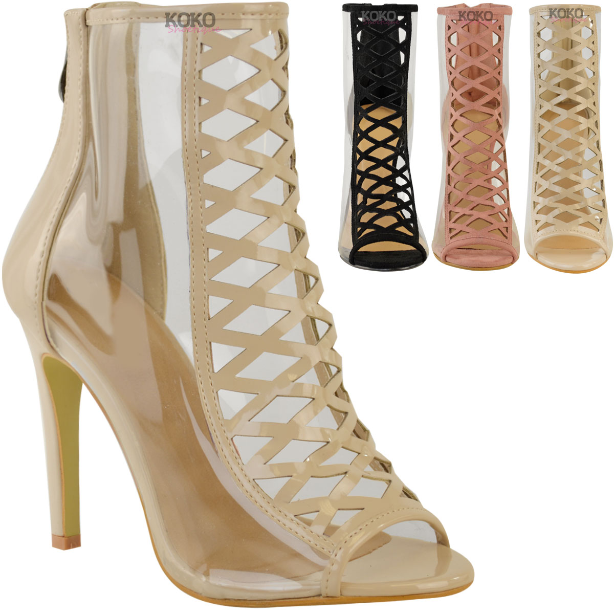 Womens Ladies High Heel Perspex Clear Sandals Celebrity