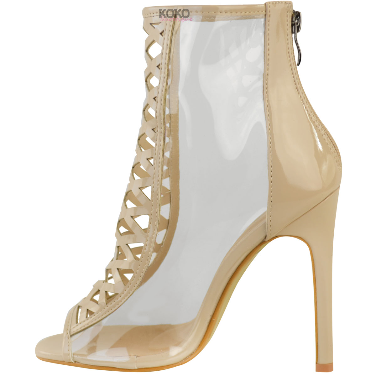 Womens Ladies High Heel Perspex Clear Sandals Celebrity ...