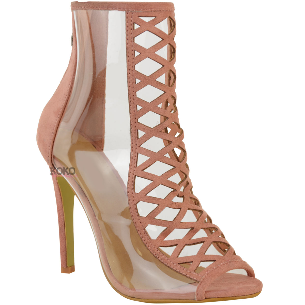 e766f9b2c41462 Womens Ladies High Heel Perspex Clear Sandals Celebrity Designer ...