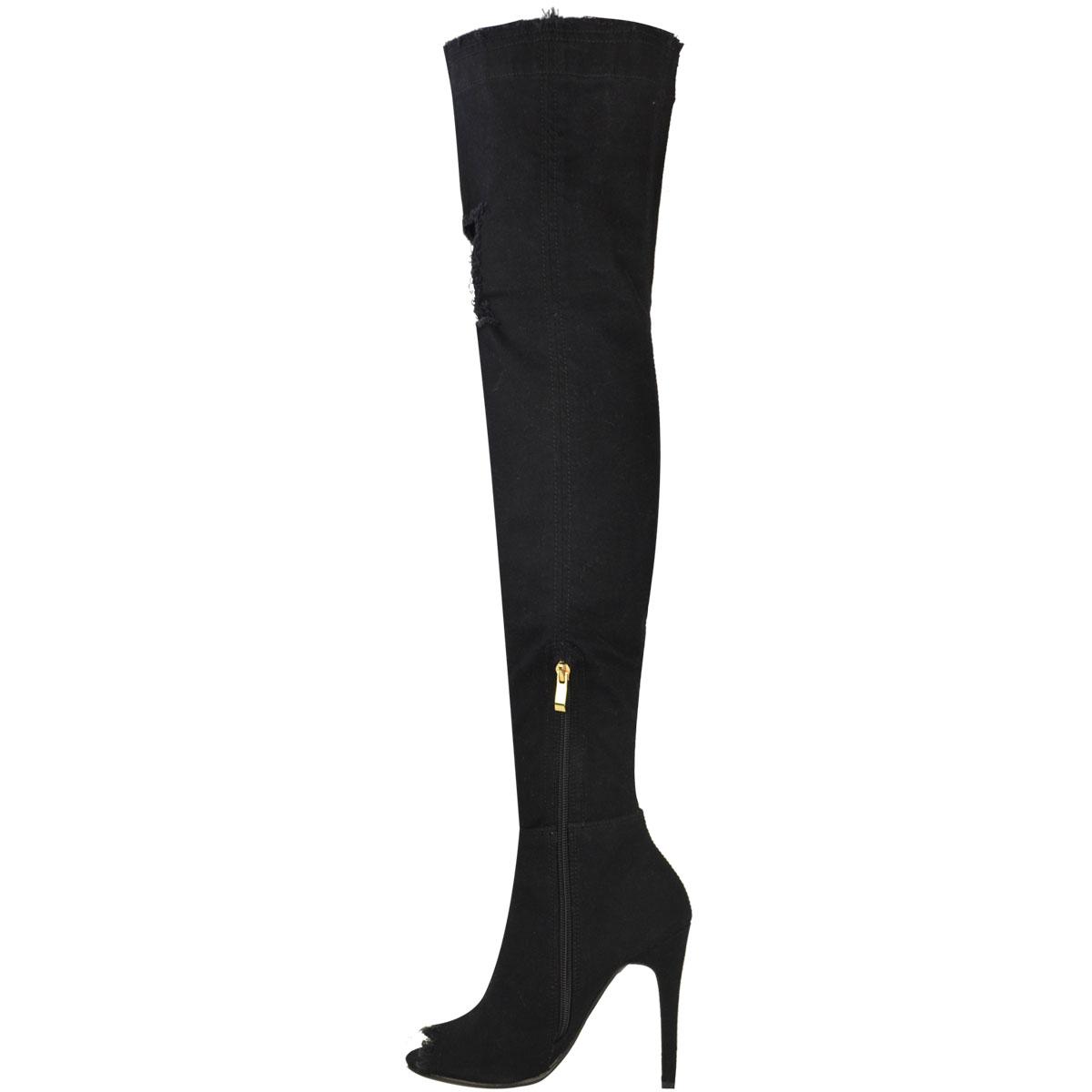 damen overknee stiefel stiletto absatz high heels aus. Black Bedroom Furniture Sets. Home Design Ideas