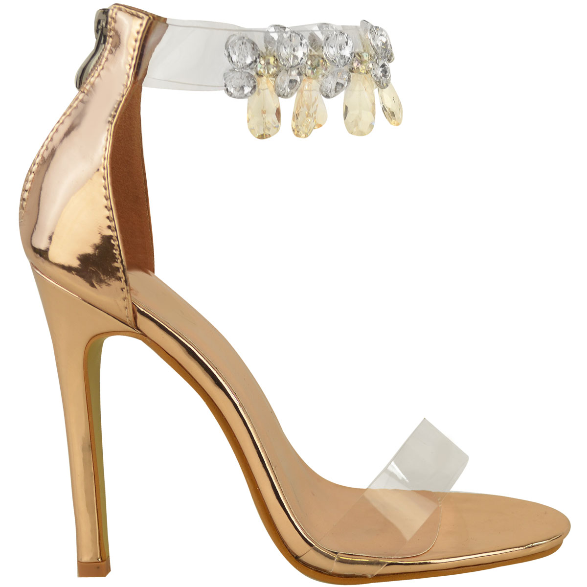 Womens Ladies Barely There Rose Gold High Heels Gem Ankle ...