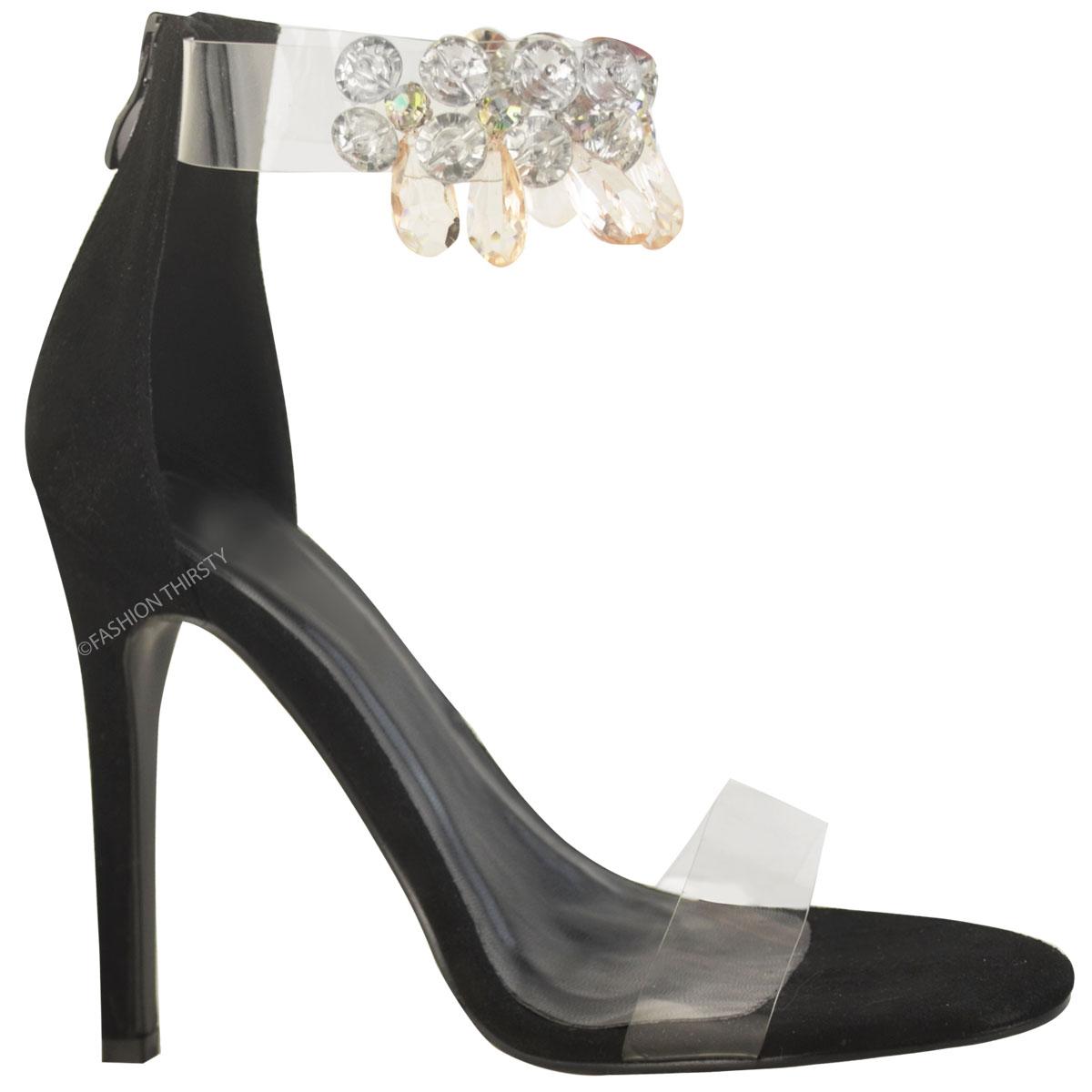 damen stiletto sandalen mit glitzersteinen high heels. Black Bedroom Furniture Sets. Home Design Ideas