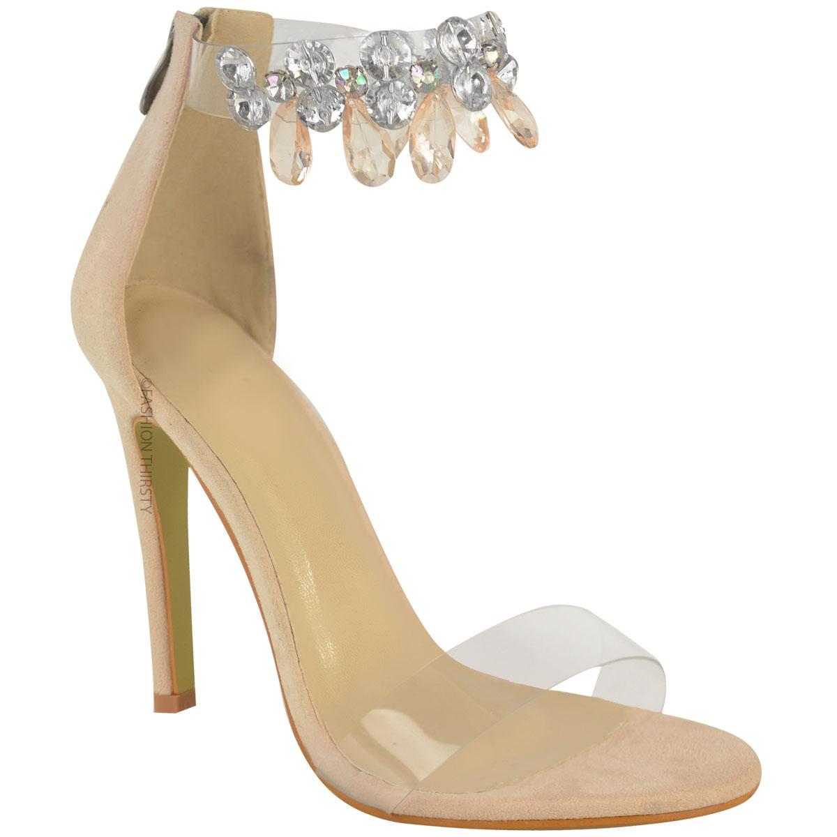 Damen Stiletto-Sandalen mit Glitzersteinen - High Heels mit ... 775aa3cf9b