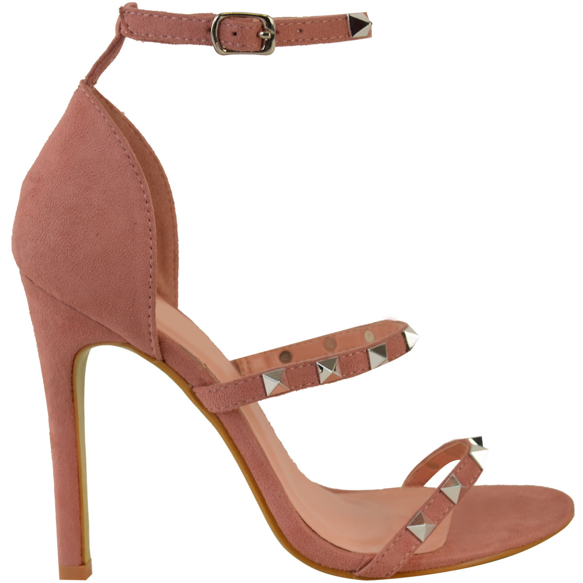 womens studded barely there high heel strappy