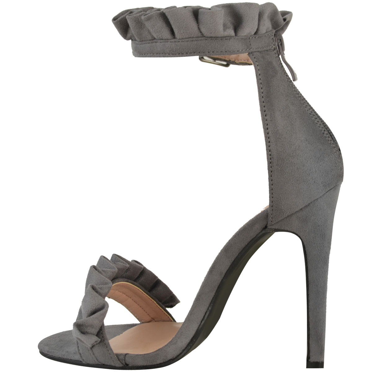 Womens Ladies High Heel Barely There Ruffle Frill Rose Party Sandals Shoes Size