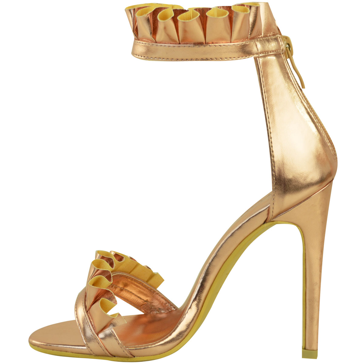 Womens Ladies Rose Frill Ruffle High Heel Barely There Party Sandals Shoes Size