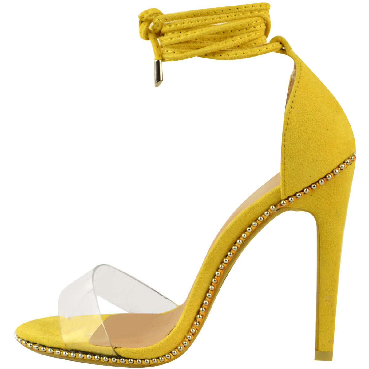Womens Ladies Perspex High Heels Party Sandals Lace Ankle Tie Up Studs Size New