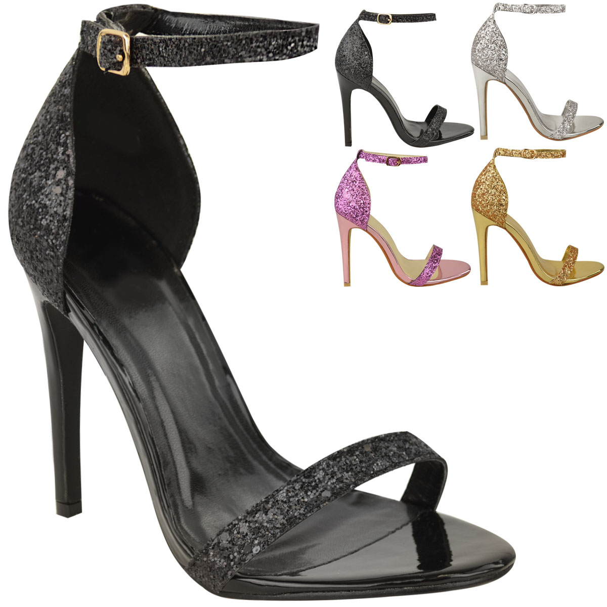 new womens ladies barely there prom high heels party sandals glitter shoes size ebay. Black Bedroom Furniture Sets. Home Design Ideas