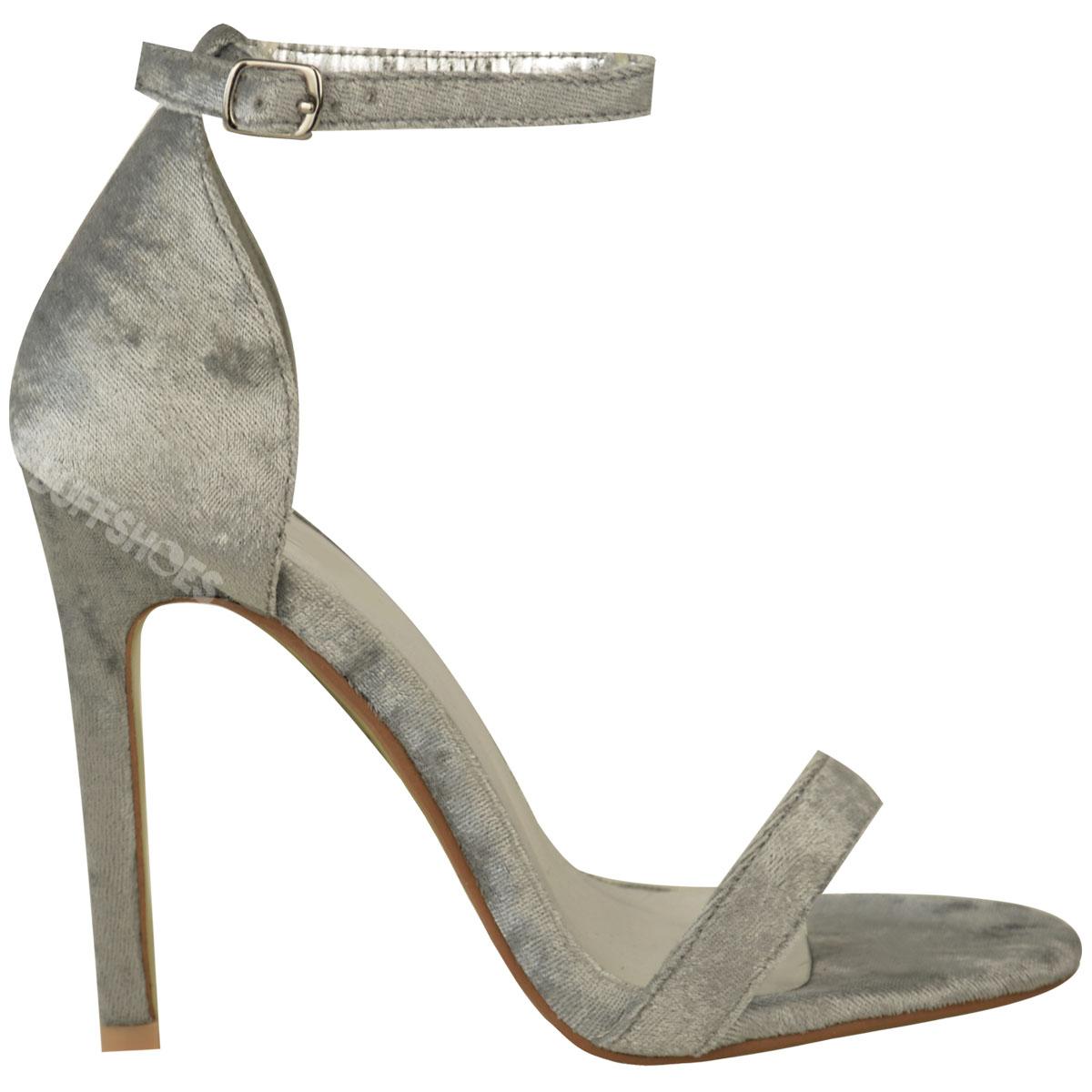 Femme-femmes-barely-there-talon-haut-fete-velours-sandales-bride-cheville-chaussures