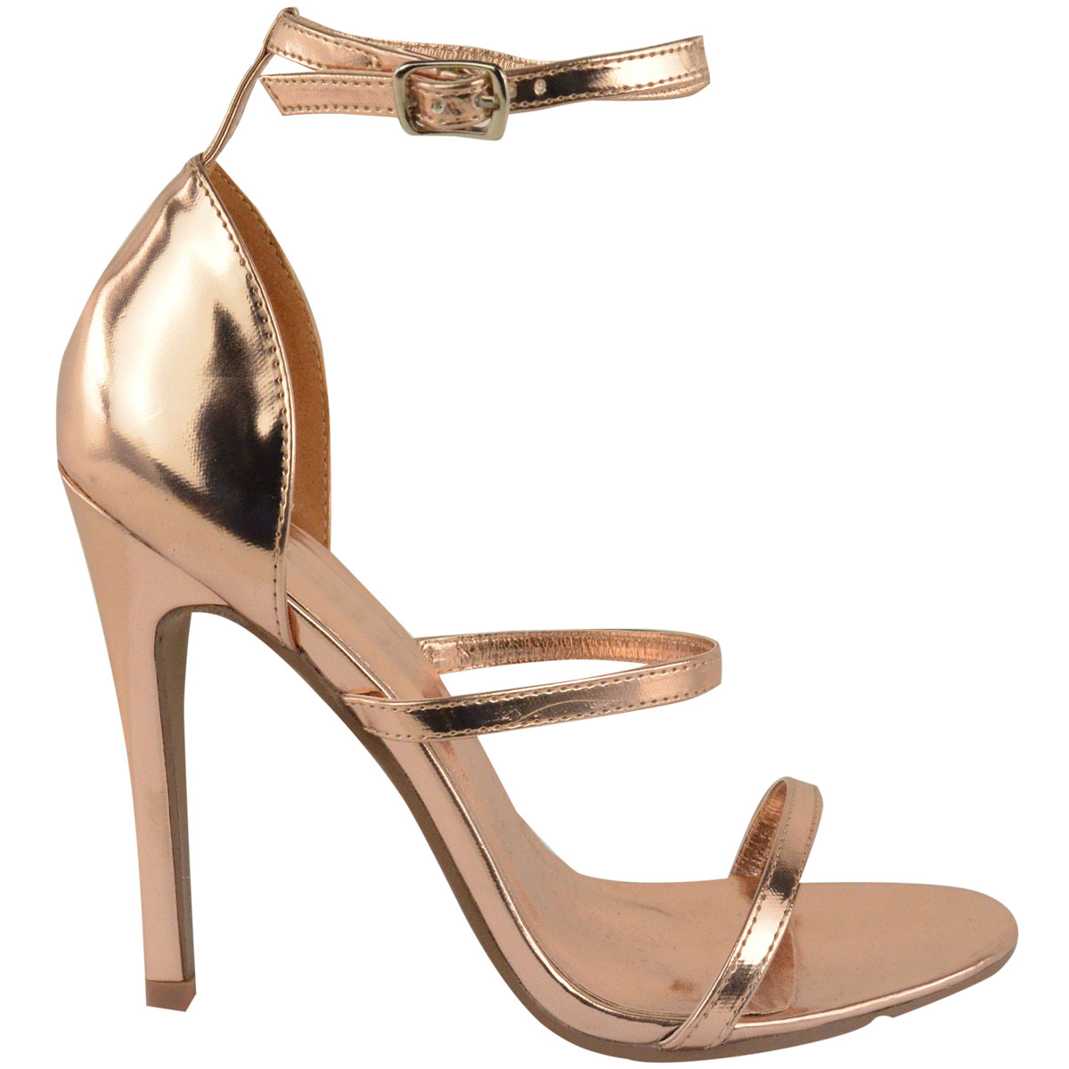 45ca5b31e9a Details about Womens Ladies Rose Gold Barely There High Heel Party Sandals  Ankle Strappy Shoes