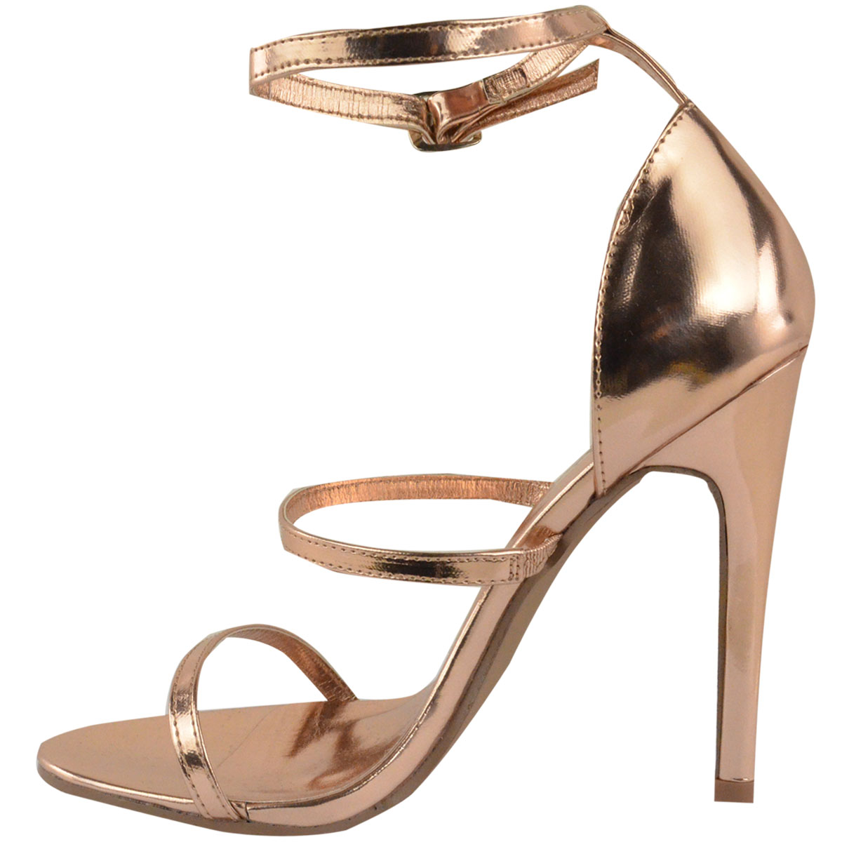 Put together all your favorite outfits with the Keen Eye Rose Gold Ankle Strap Heels! Metallic rose gold vegan leather shapes a padded toe band and ankle strap. 3