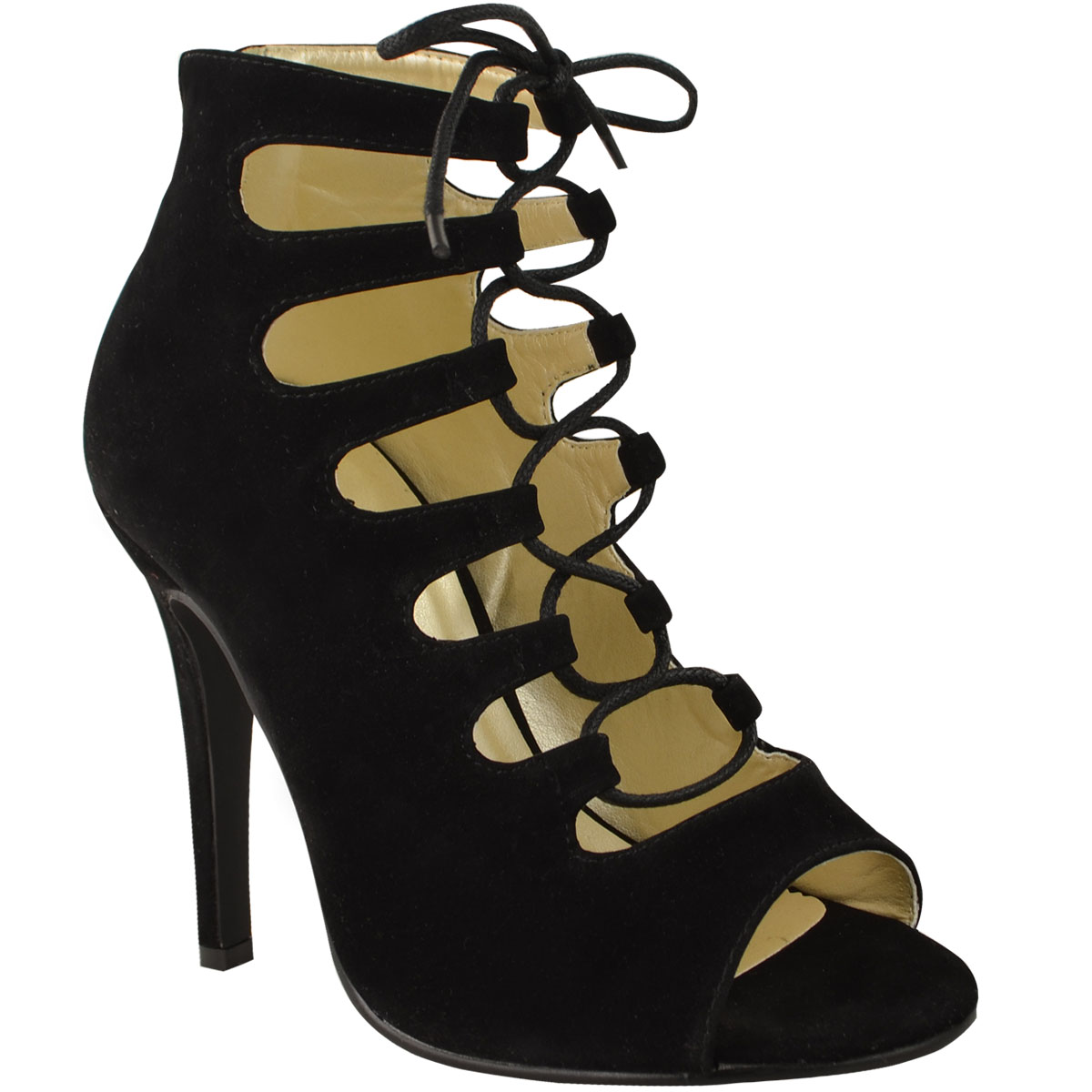 LADIES WOMENS HIGH HEELS STILETTOS LACE UP GLADIATOR ANKLE SANDALS ...