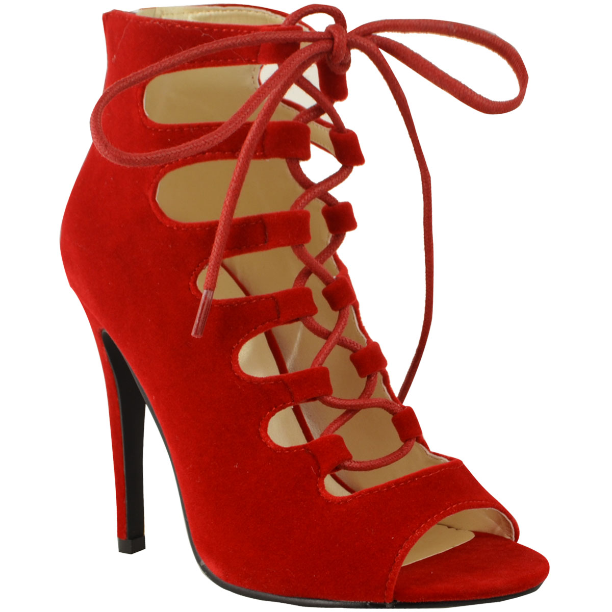 Red Lace Up High Heels