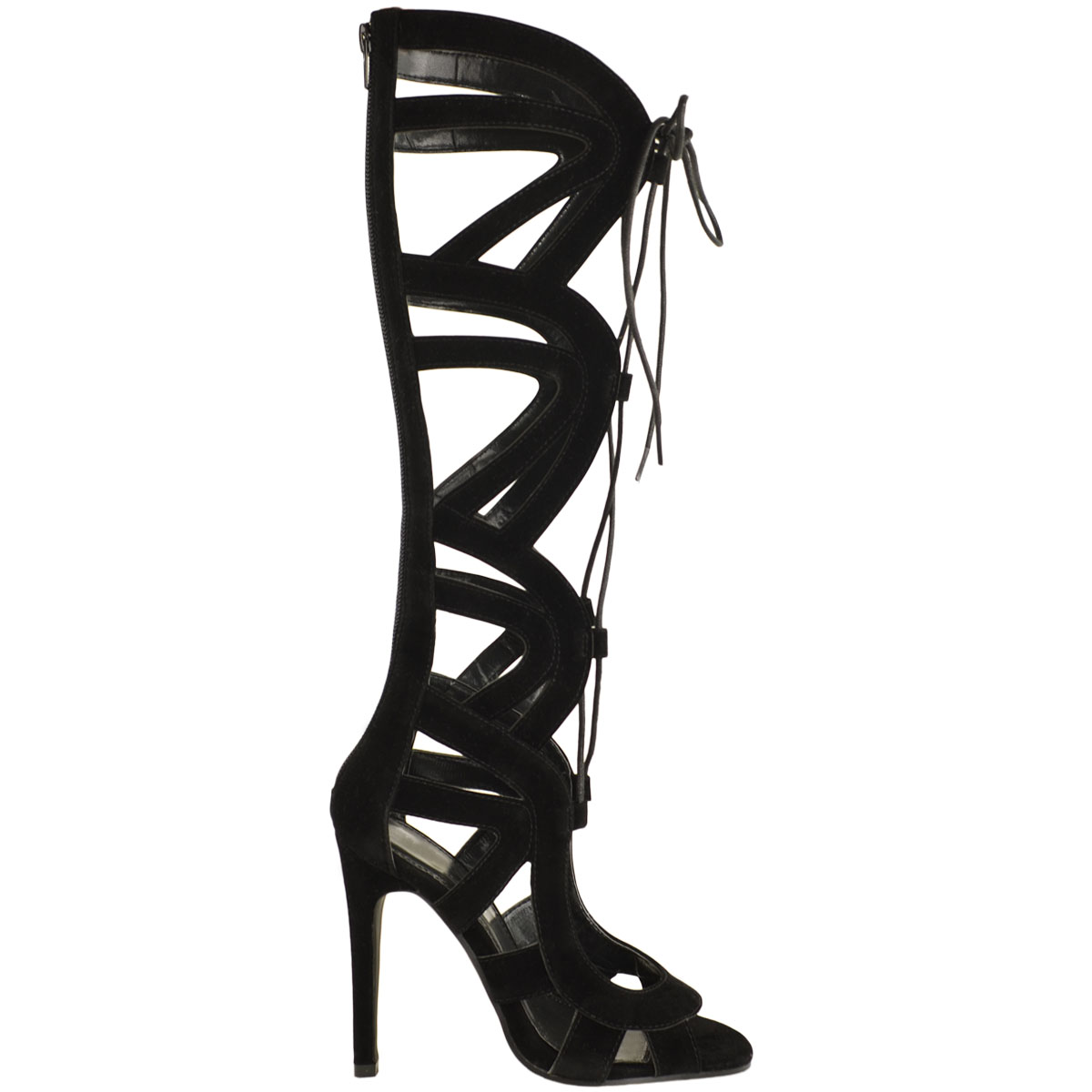 cd0d9b32f3e LADIES WOMENS KNEE HIGH LACE UP CUT OUT SHOES HEELS GLADIATOR ...