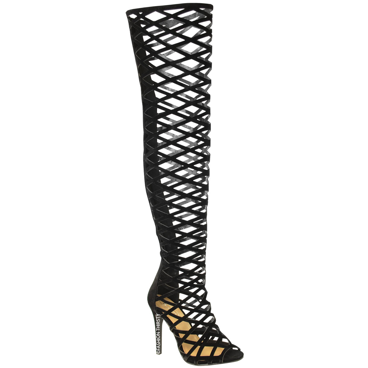 LADIES WOMENS CUT OUT OVER THE KNEE THIGH HIGH STILETTO HEELS ...