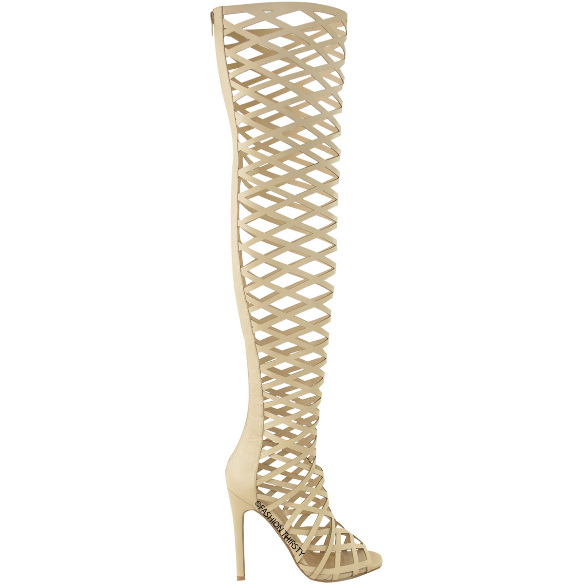 LADIES damen CUT OUT OVER THE KNEE THIGH HIGH HIGH HIGH STILETTO HEELS Stiefel SANDALS Größe 975b3a