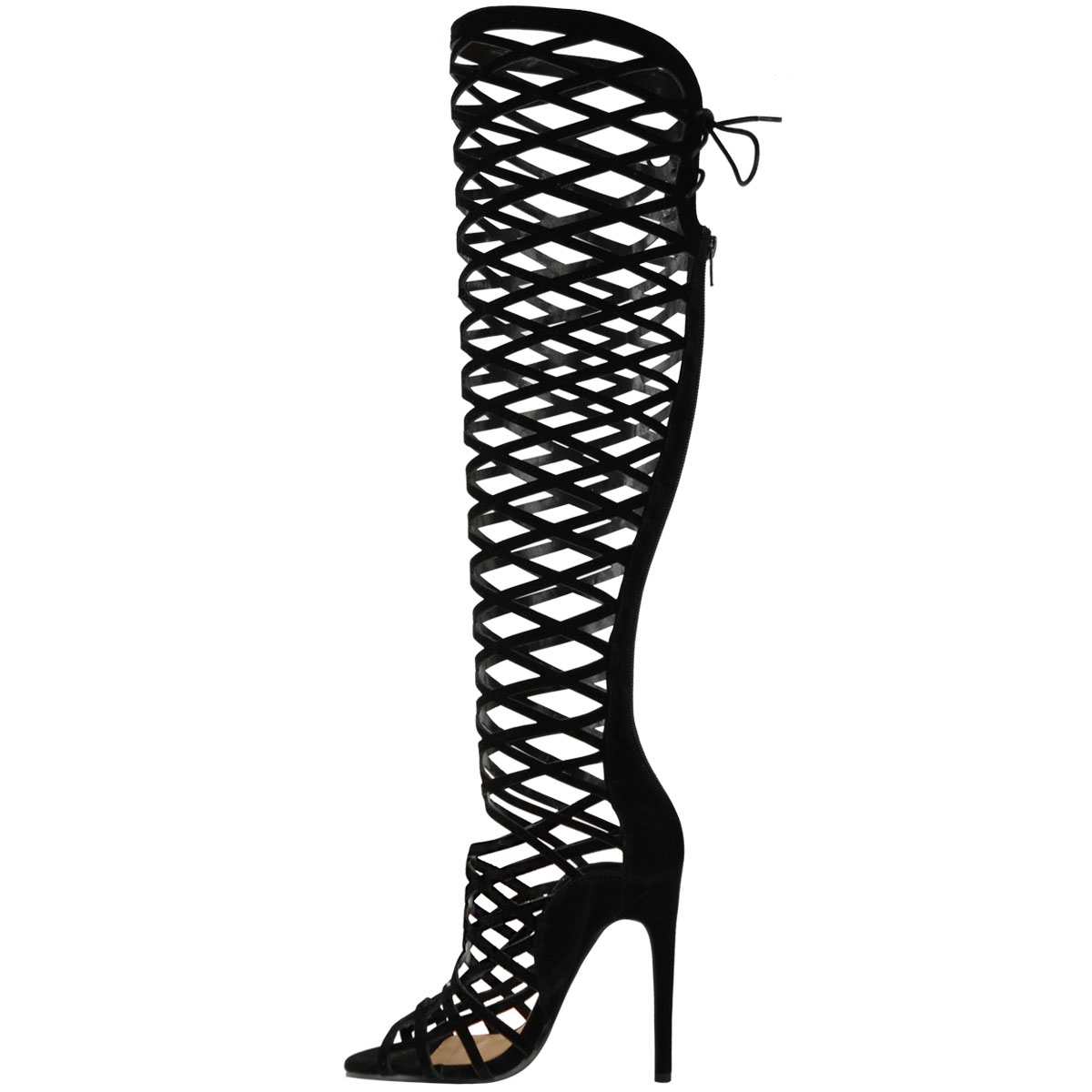 LADIES WOMENS CUT OUT LACE KNEE HIGH HEEL BOOTS GLADIATOR SANDALS ...