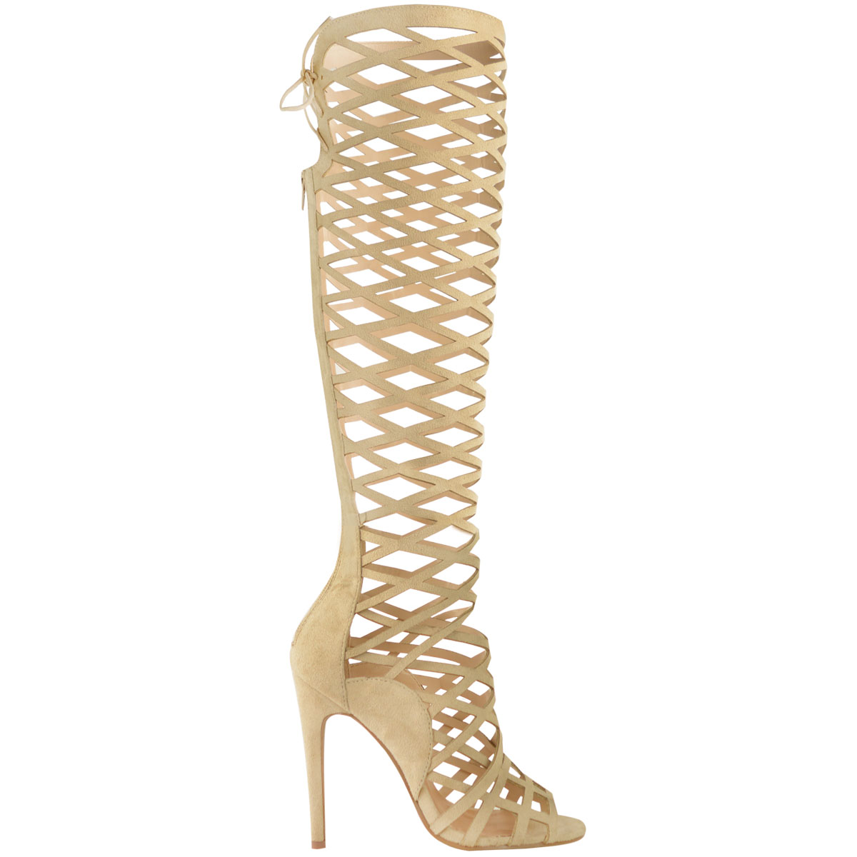 LADIES Damenschuhe HIGH CUT OUT LACE KNEE HIGH Damenschuhe HEEL Stiefel GLADIATOR SANDALS STRAPPY SIZE 0dc7ad