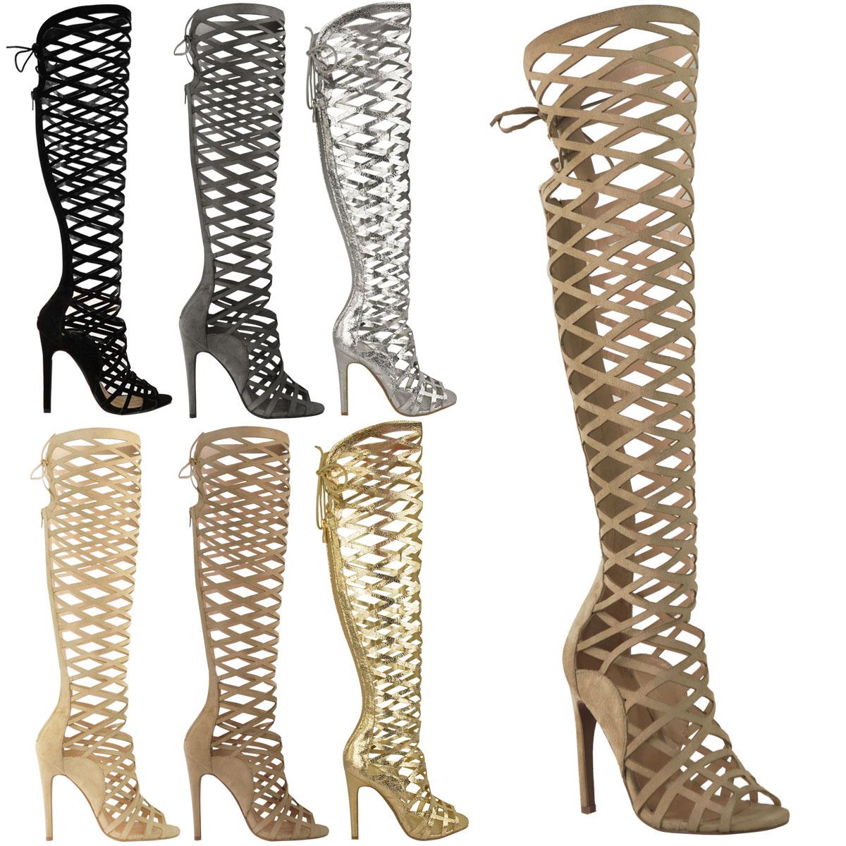 damen ausgeschnittenen spitzen heel kniehohe stiefel gladiator sandalen riemchen ebay. Black Bedroom Furniture Sets. Home Design Ideas