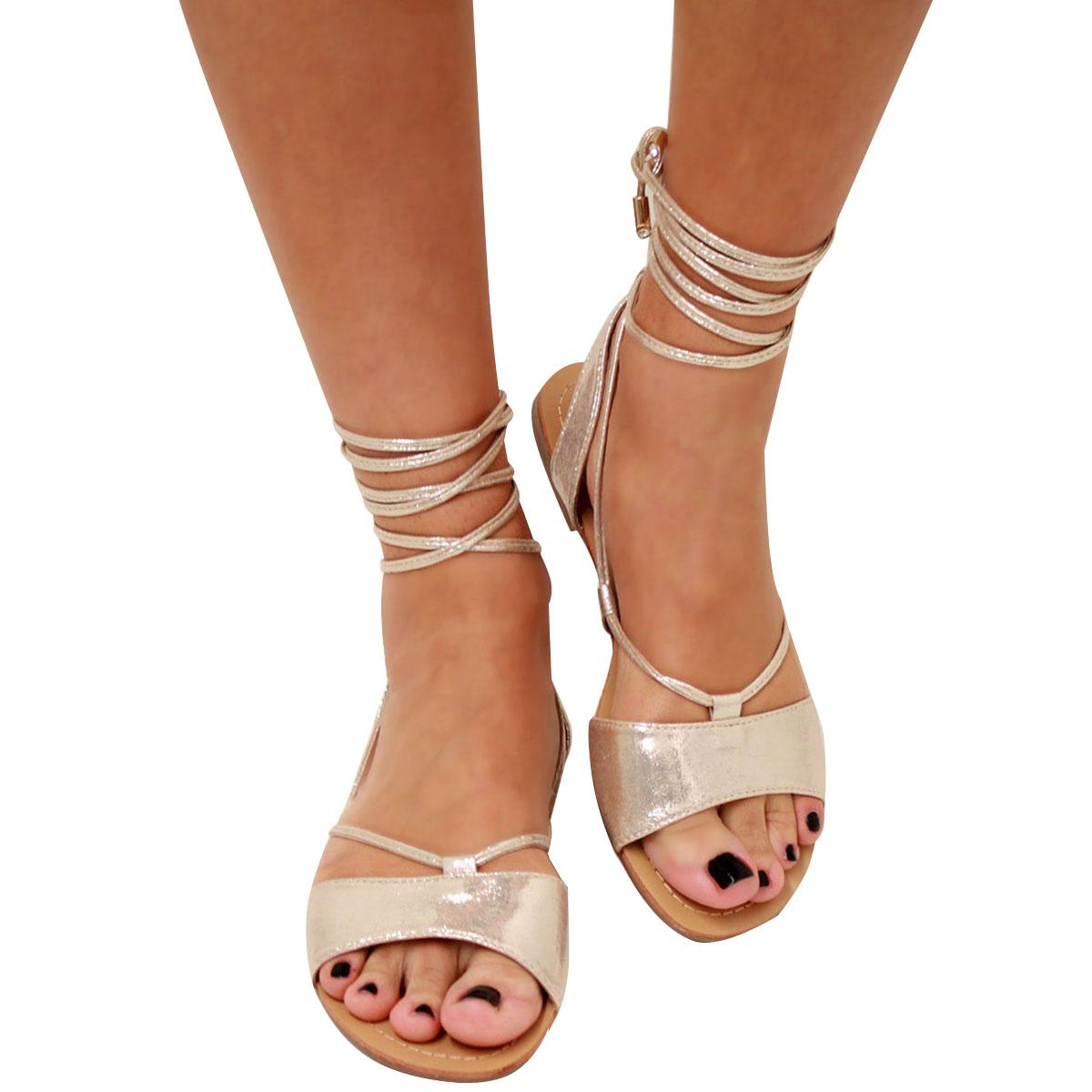 Womens Ladies Tie Up Gladiator Flat Sandals Strappy Summer ...