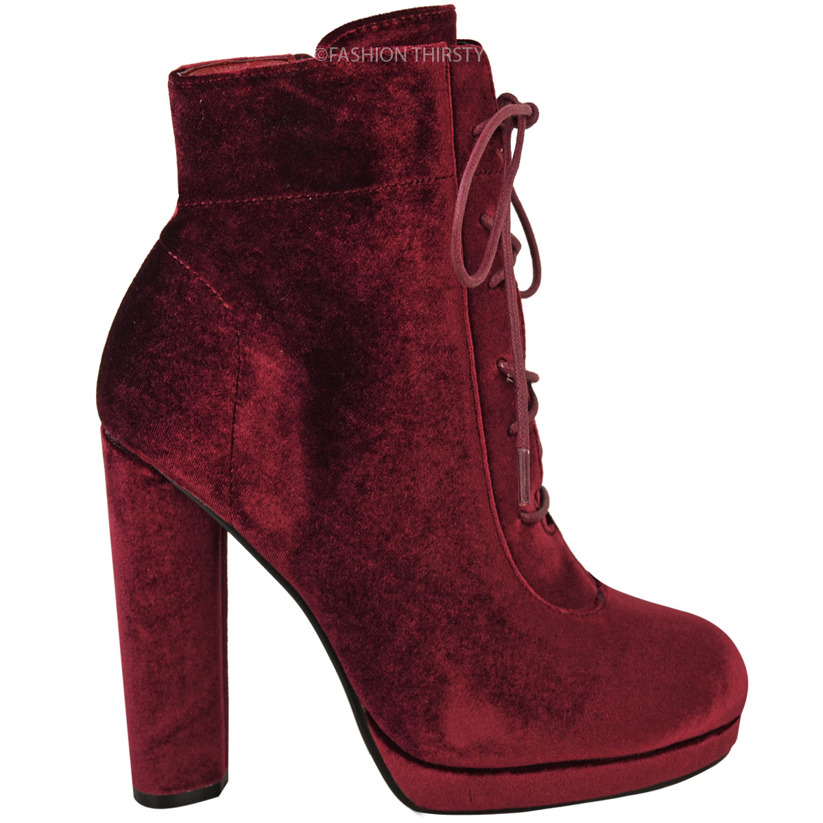 womens platforms block high heel ankle boots lace