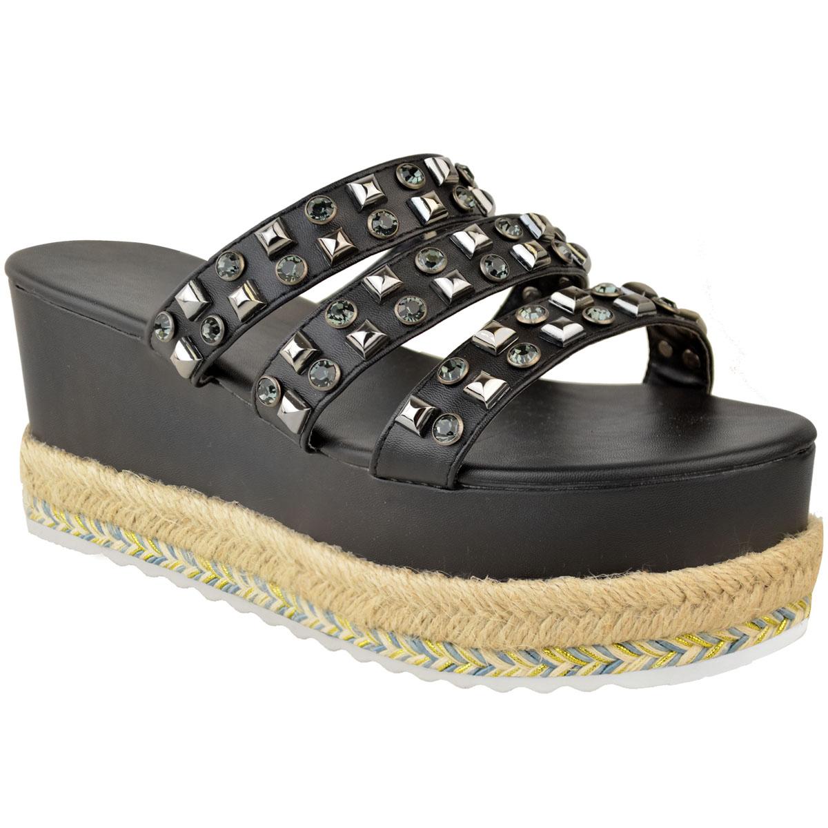 Womens-Ladies-Flatforms-Sandals-Espadrilles-Embellished-Stud-Jewel-Wedges-Size