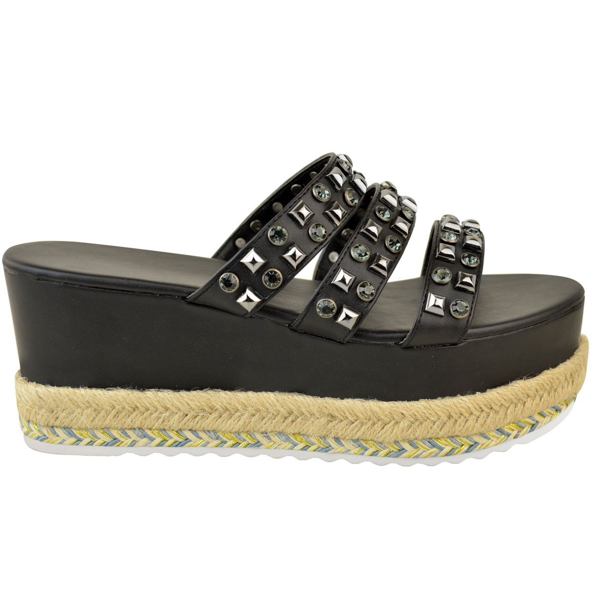 Womens-Ladies-Flatforms-Sandals-Espadrilles-Embellished-Stud-Jewel-Wedges-Size thumbnail 3