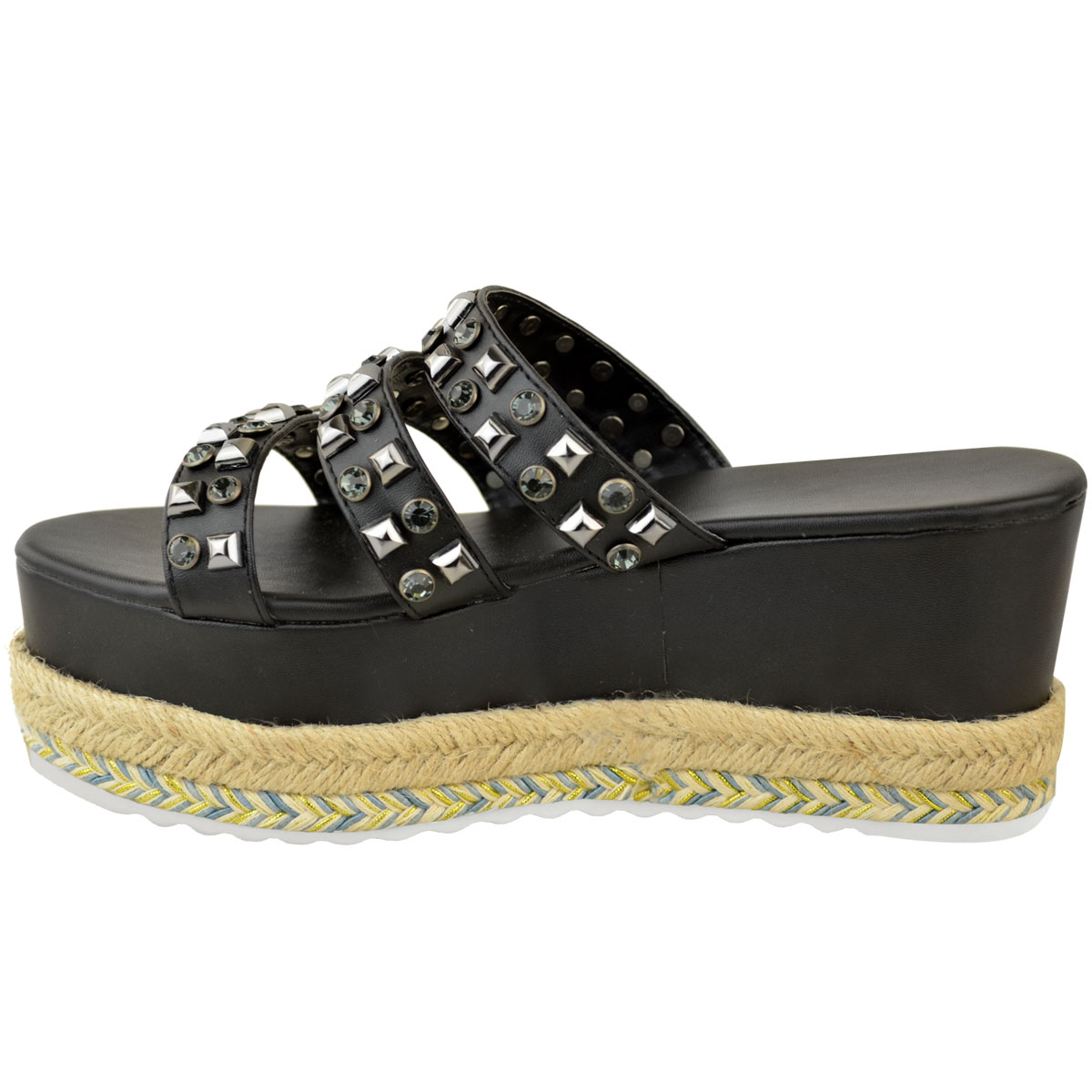 Womens-Ladies-Flatforms-Sandals-Espadrilles-Embellished-Stud-Jewel-Wedges-Size thumbnail 4