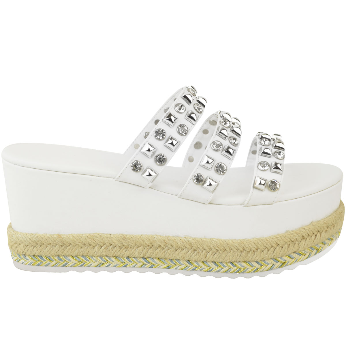 Womens-Ladies-Flatforms-Sandals-Espadrilles-Embellished-Stud-Jewel-Wedges-Size thumbnail 7