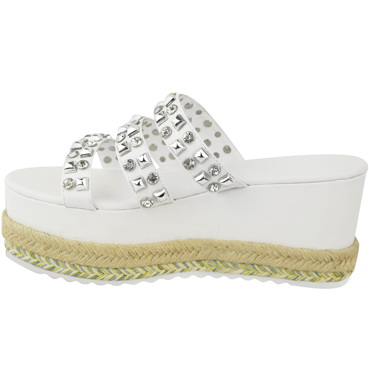 Womens-Ladies-Flatforms-Sandals-Espadrilles-Embellished-Stud-Jewel-Wedges-Size thumbnail 8