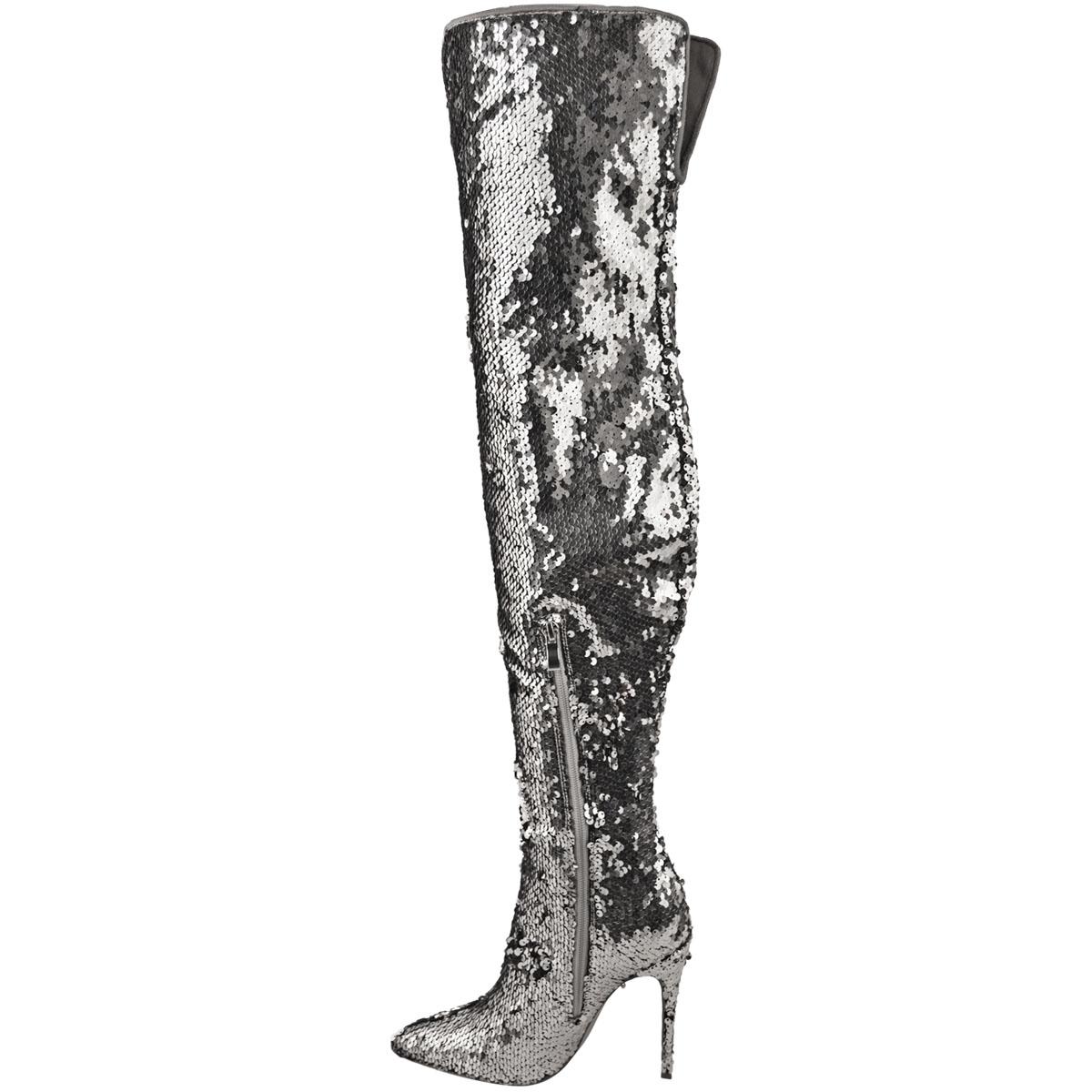Party Metallic High The Details Womens Boots Zu Sparkle Knee Over Size Sequin Heels Ladies Nn08Ovmw