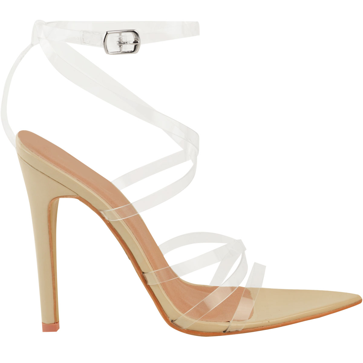 Womens-Sexy-Clear-High-Heel-Sandals-Perspex-Strappy-Party-Barely-There-Pointed thumbnail 9