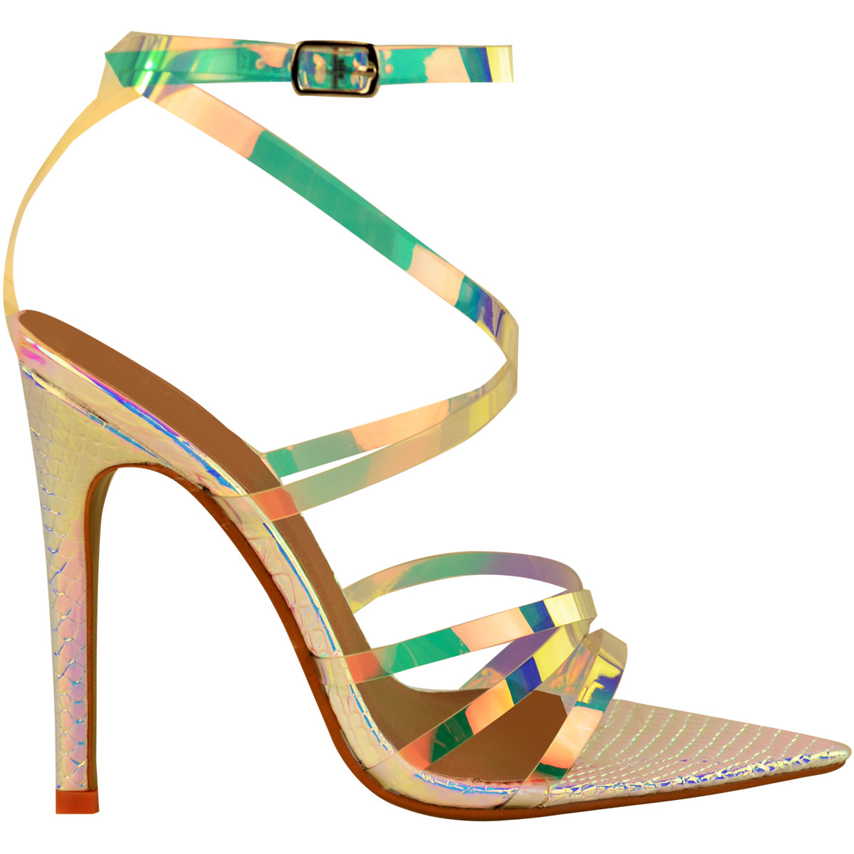 Womens-Silver-Hologram-Perspex-High-Heel-Party-Sandals-Barely-There-Strappy thumbnail 7