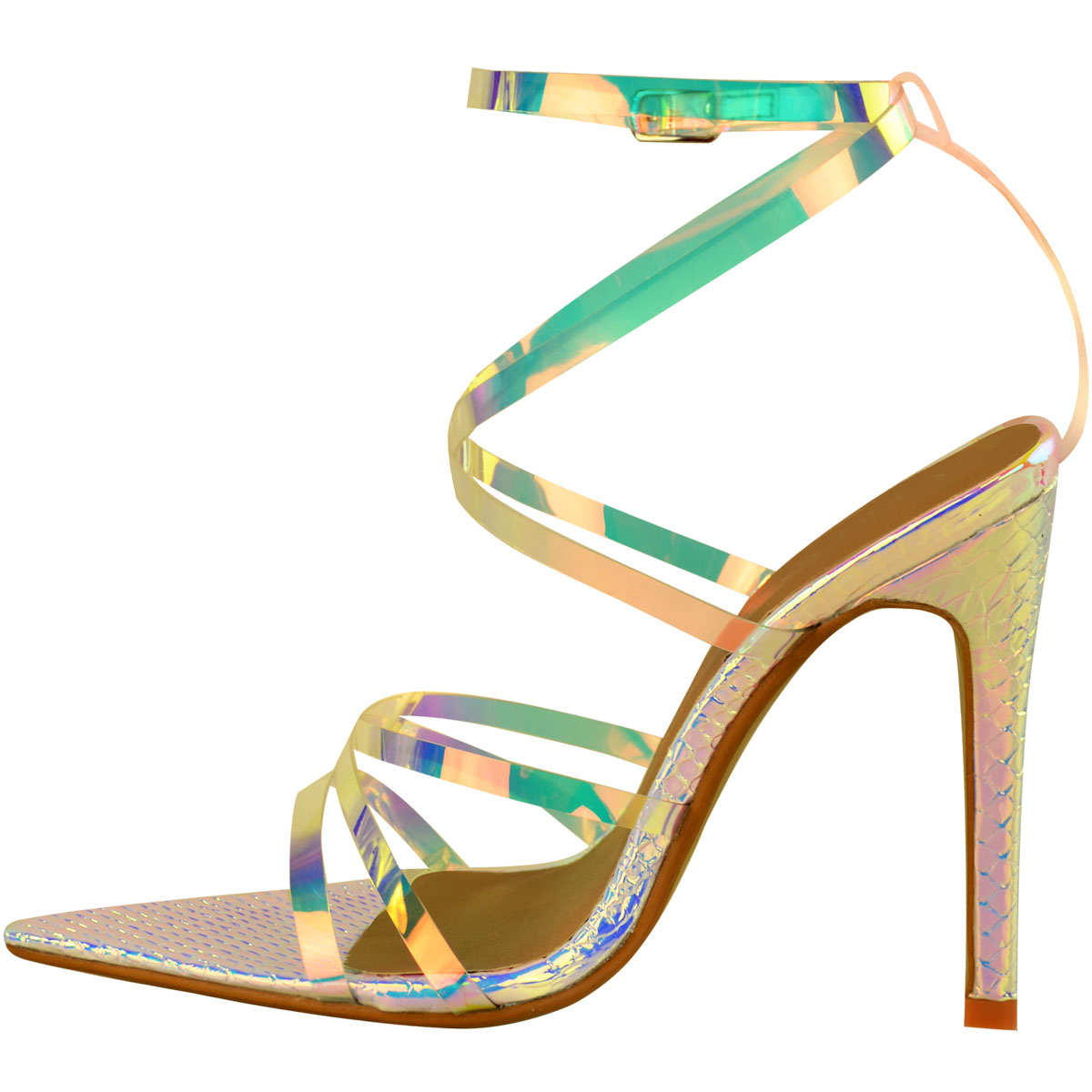 Womens-Silver-Hologram-Perspex-High-Heel-Party-Sandals-Barely-There-Strappy thumbnail 8
