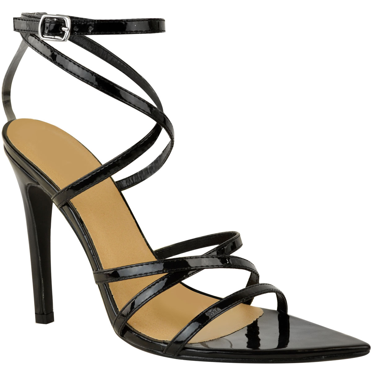 Womens-Ladies-Pointed-Barely-There-High-Heels-Sandals-Strappy-Black-Patent-Size thumbnail 3