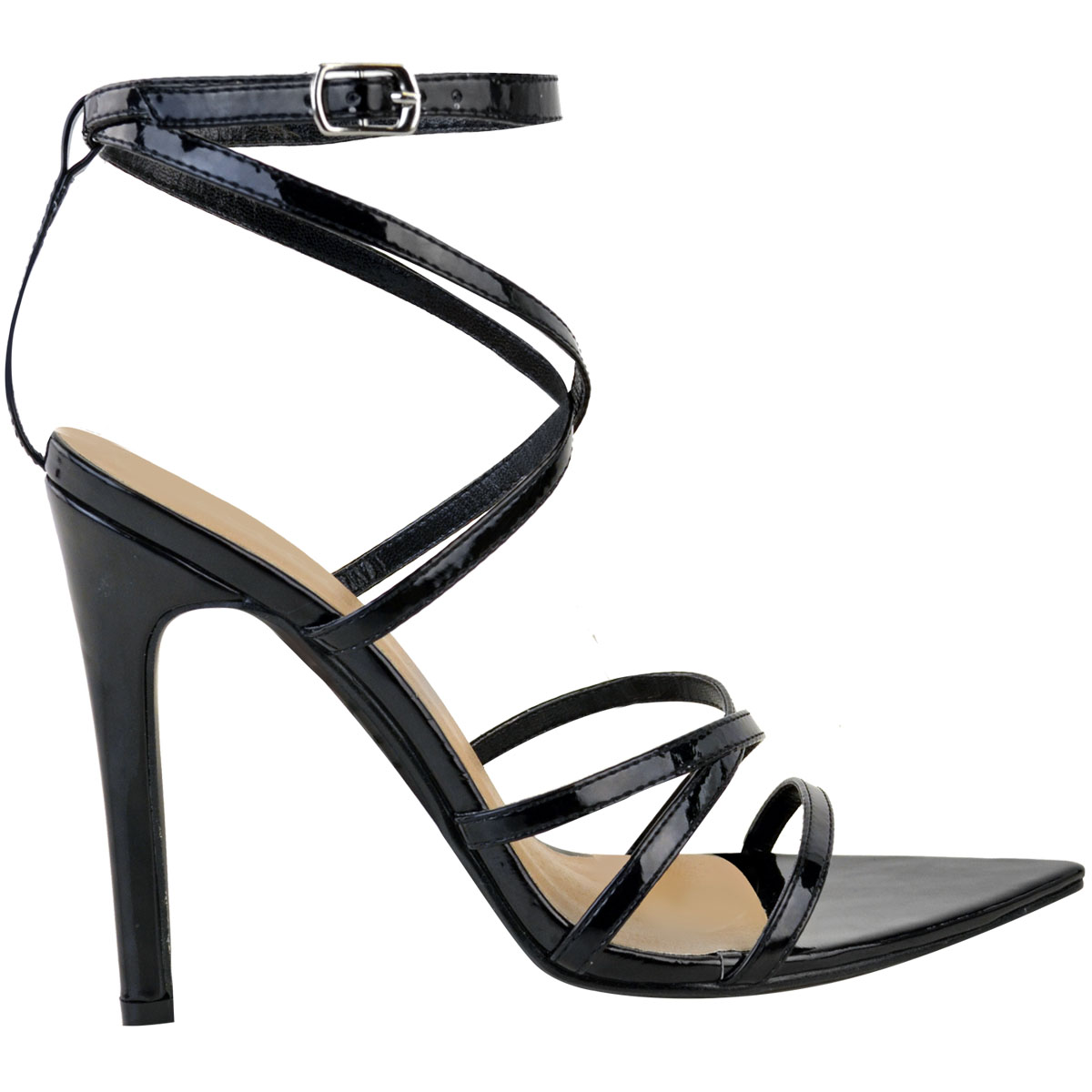 Womens-Ladies-Pointed-Barely-There-High-Heels-Sandals-Strappy-Black-Patent-Size thumbnail 4