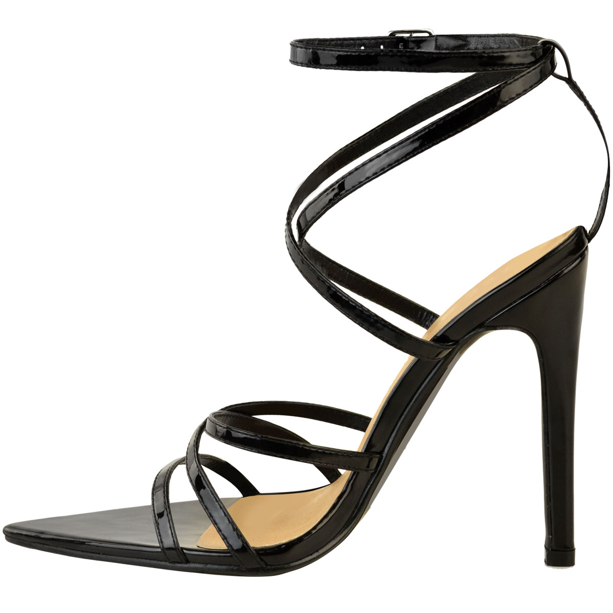 Womens-Ladies-Pointed-Barely-There-High-Heels-Sandals-Strappy-Black-Patent-Size thumbnail 5