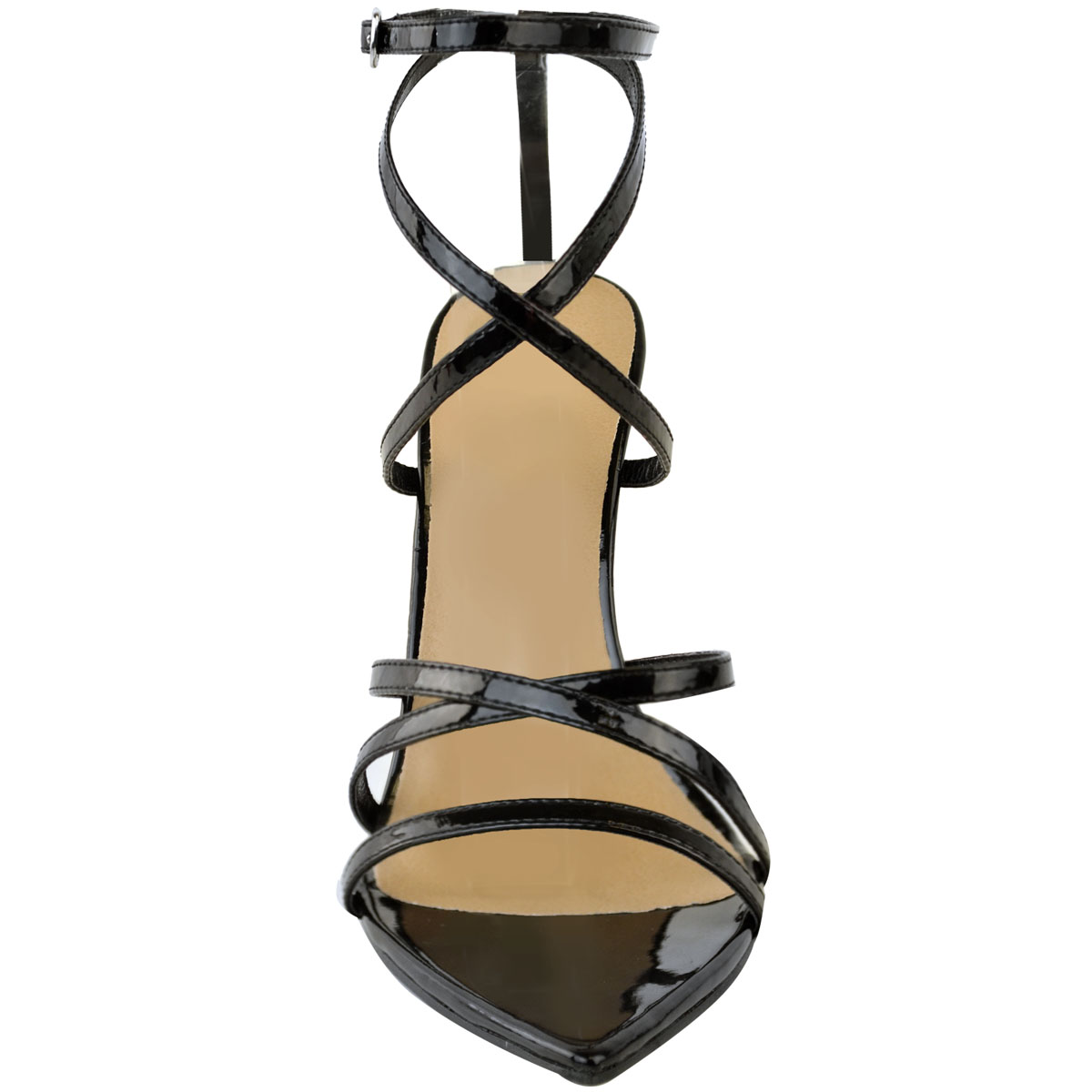 Womens-Ladies-Pointed-Barely-There-High-Heels-Sandals-Strappy-Black-Patent-Size thumbnail 6