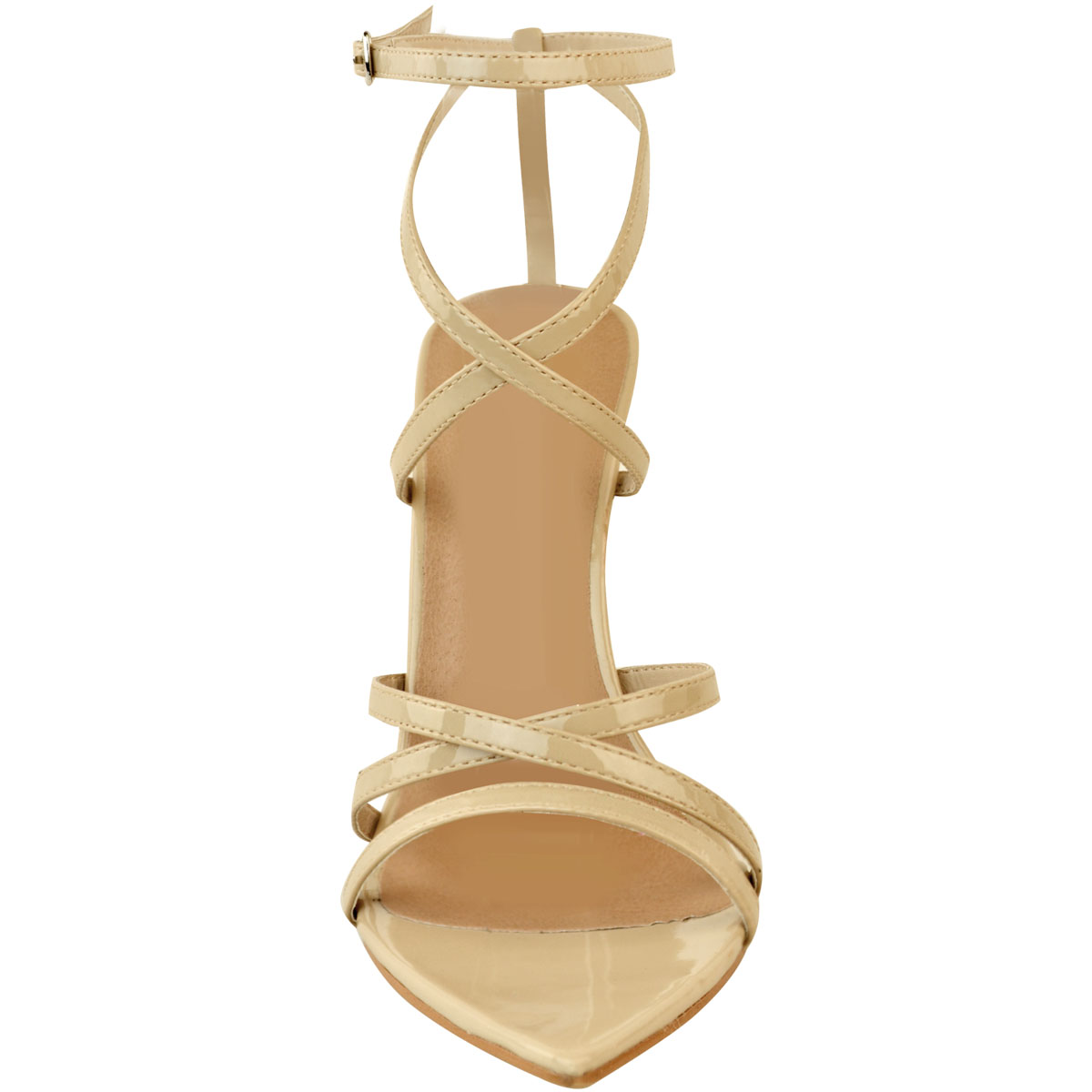 Womens-Ladies-Pointed-Barely-There-High-Heels-Sandals-Strappy-Black-Patent-Size thumbnail 21