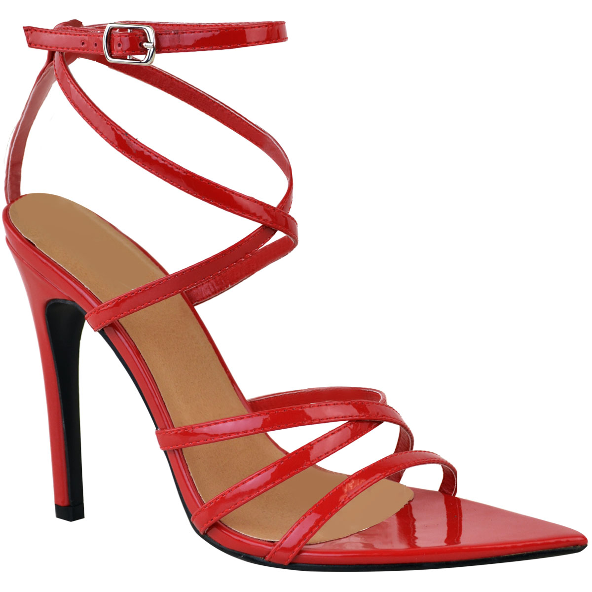 Womens-Ladies-Pointed-Barely-There-High-Heels-Sandals-Strappy-Black-Patent-Size thumbnail 8
