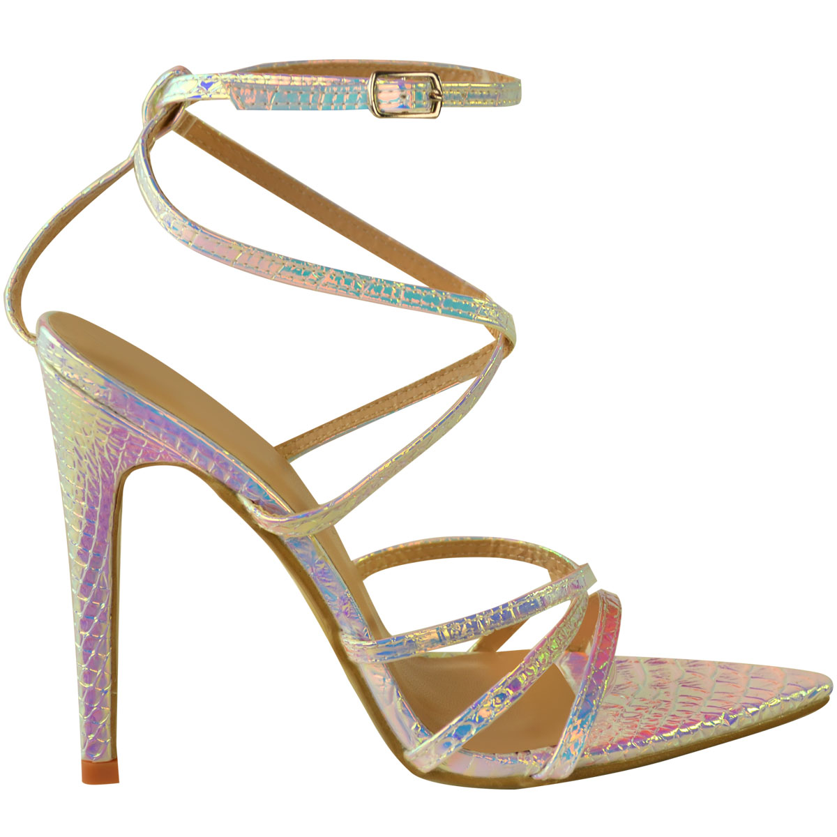 Womens-Silver-Hologram-Perspex-High-Heel-Party-Sandals-Barely-There-Strappy thumbnail 3