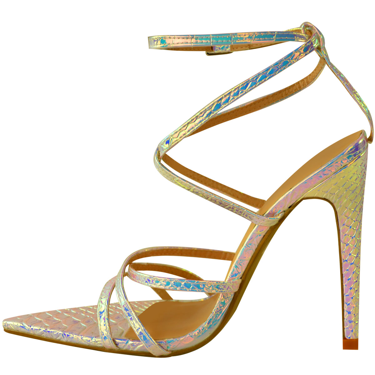 Womens-Silver-Hologram-Perspex-High-Heel-Party-Sandals-Barely-There-Strappy thumbnail 4