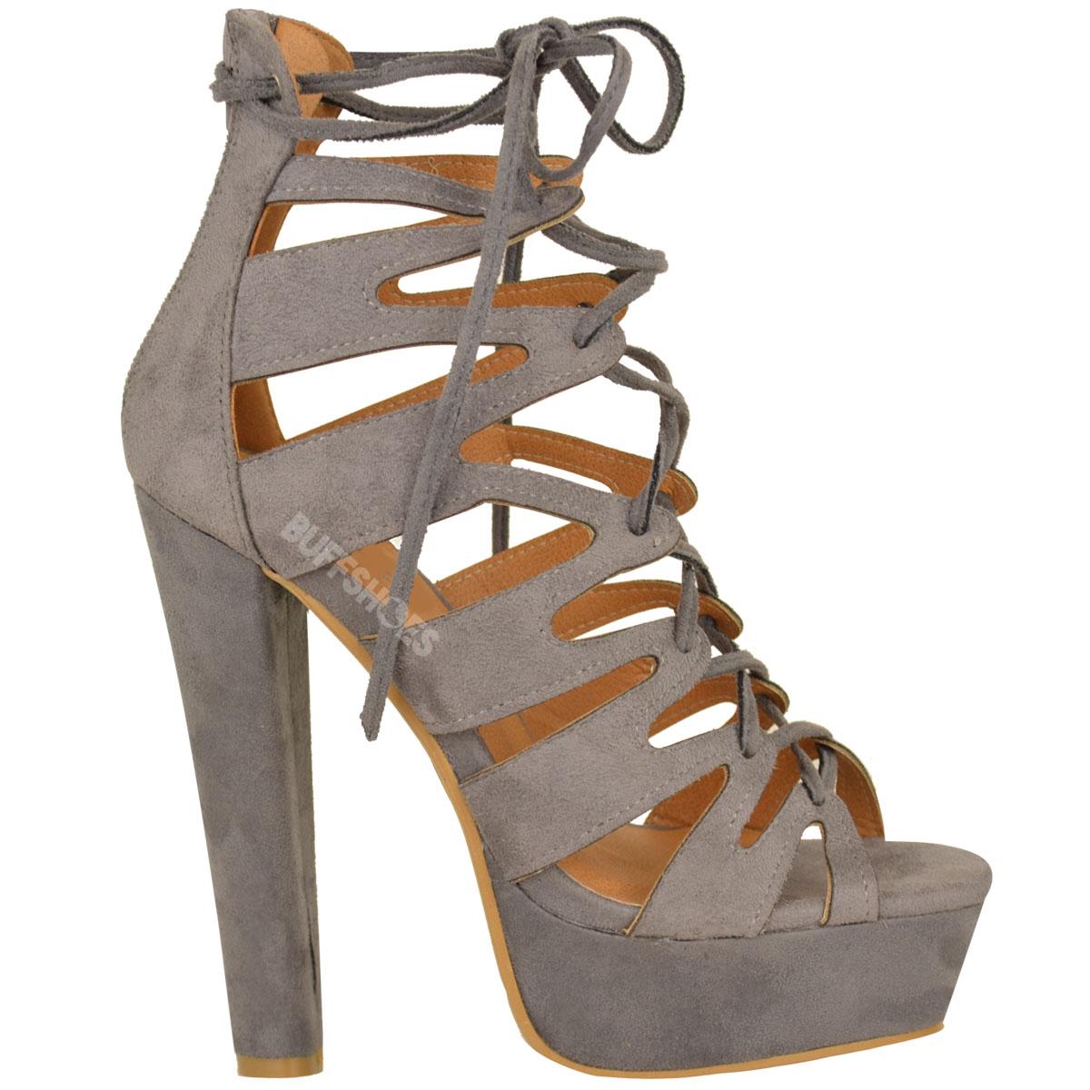 New Womens Ladies High Heel Platform Gladiator Sandals