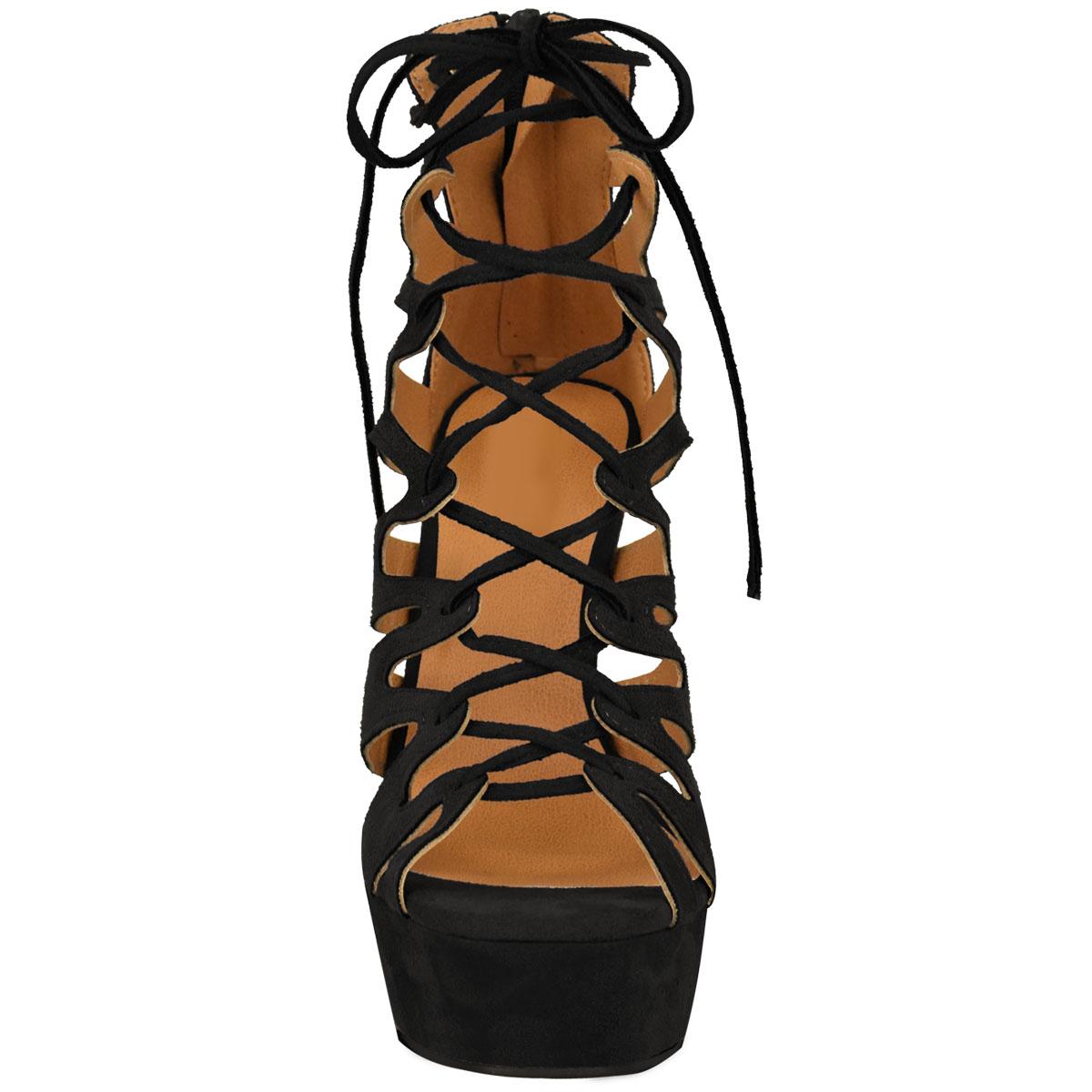 Neue Damen High Heel-Plattform Gladiator Sandalen schnüren Knöchel Schuhe Größe