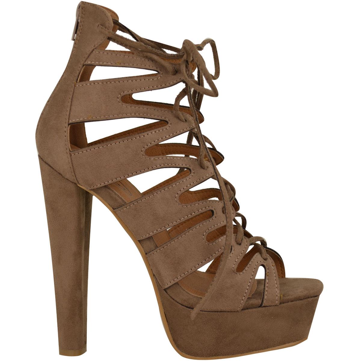 neue damen high heel plattform gladiator sandalen schn ren. Black Bedroom Furniture Sets. Home Design Ideas